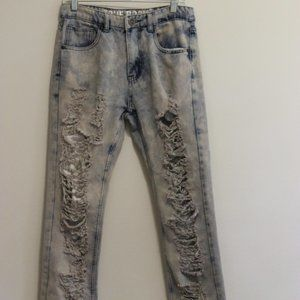 Men's Distressed Acid Washed Ripped Denim